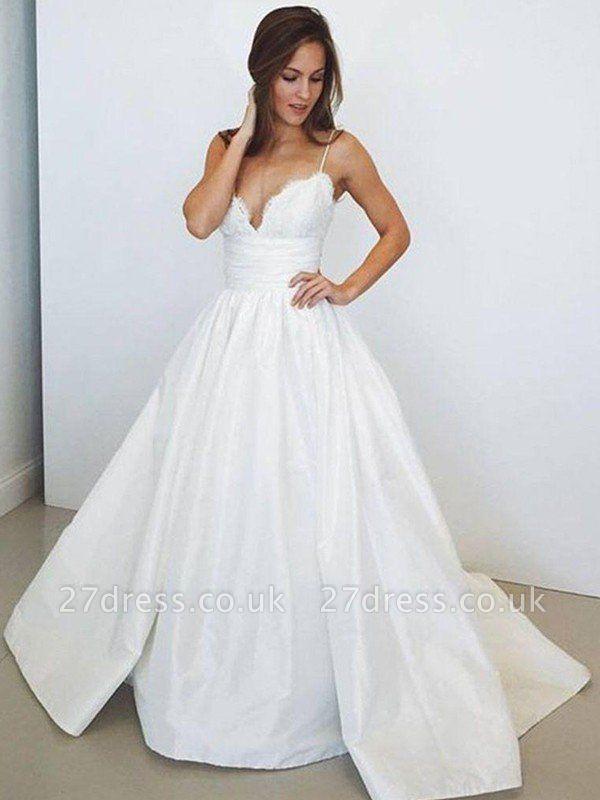 Sweep Train Ball Gown Sleeveless Ruched Satin Spaghetti Straps Wedding Dresses UK