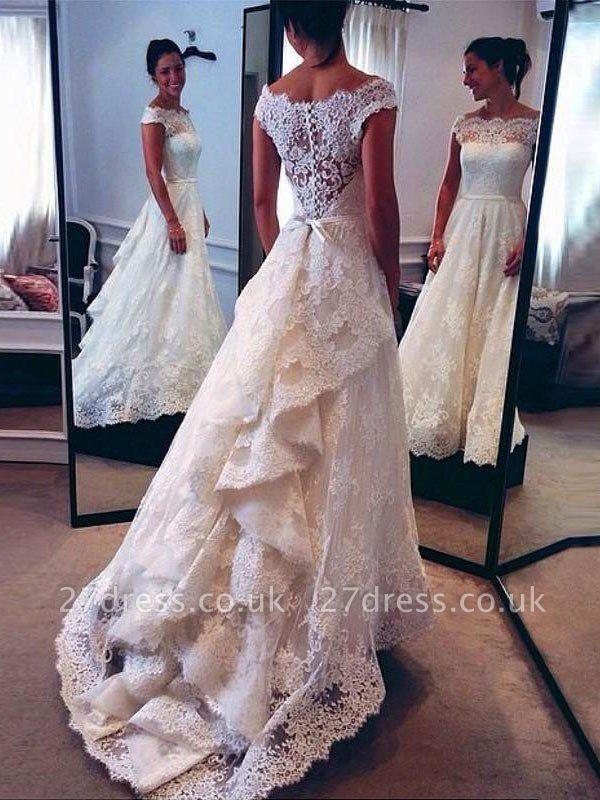 Lace Sleeveless A-Line Scoop Neckline Court Train Wedding Dresses UK