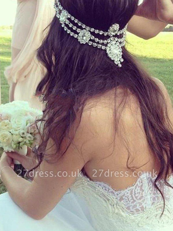 Court Train A-Line Sleeveless Sweetheart Lace Tulle Cheap Wedding Dresses UK
