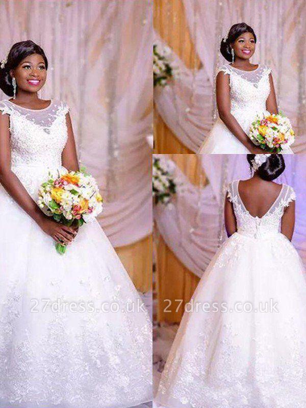 Ball Gown Applique Floor-Length Tulle Sleeveless Scoop Neckline Floor-Length Wedding Dresses UK