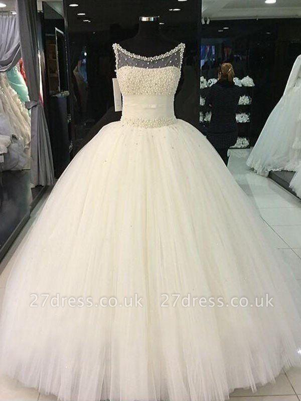 Floor-Length Tulle Cheap Ball Gown Beads Scoop Neckline Sleeveless Wedding Dresses UK