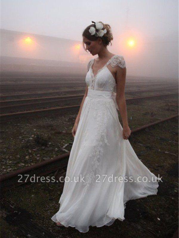 A-Line Sleeveless V-neck Floor-Length Lace Wedding Dresses UK