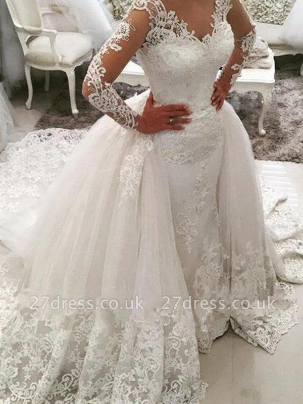 Long Sleeves  V-Neck Ball Gown Applique Lace Cathedral Train Tulle Wedding Dresses UK