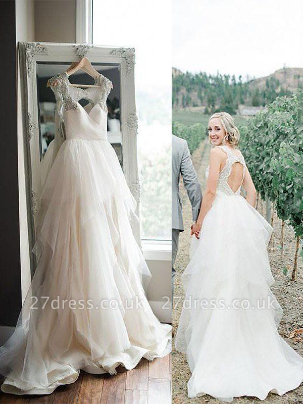 Sweep Train Sleeveless A-Line Tulle Straps Wedding Dresses UK
