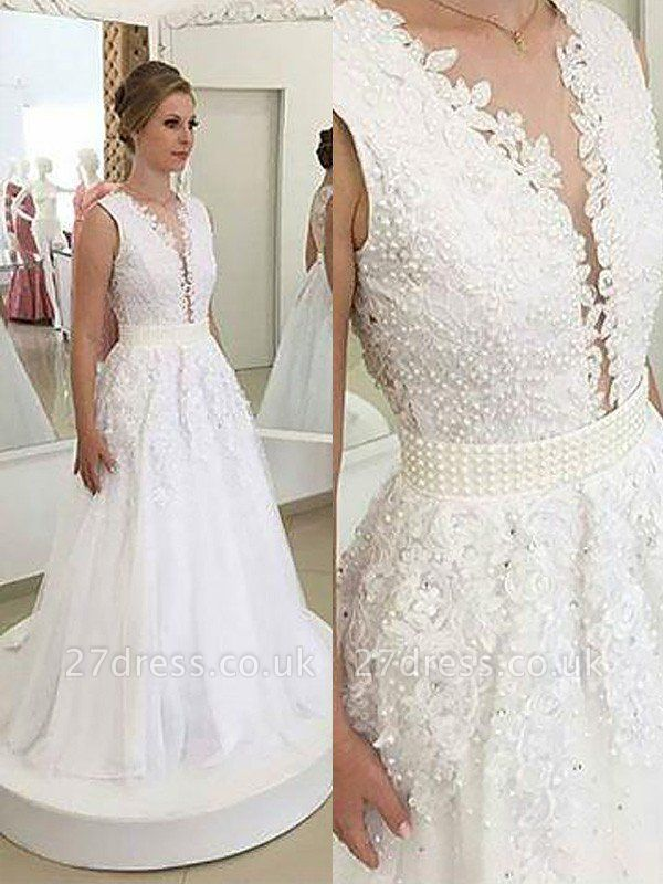 Sleeveless Tulle A-Line  V-Neck Sweep Train Applique Wedding Dresses UK