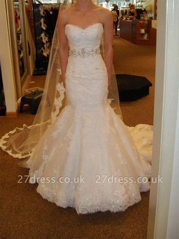 Lace Tulle Sexy Mermaid Sleeveless Court Train Sweetheart Ribbon Wedding Dresses UK