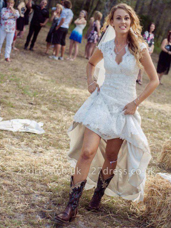 Applique Sheath Short Sleeves Court Train Lace V-neck Wedding Dresses UK