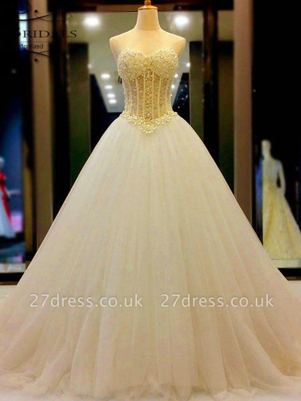 Tulle Cheap Ball Gown Sleeveless Sweetheart Court Train Beads Wedding Dresses UK