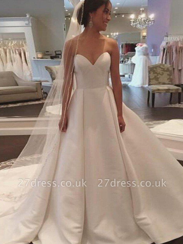 Court Train Satin Ball Gown Sweetheart Sleeveless Wedding Dresses UK