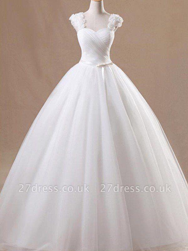 Ruffles Tulle Ball Gown Square Floor-Length Sleeveless Wedding Dresses UK