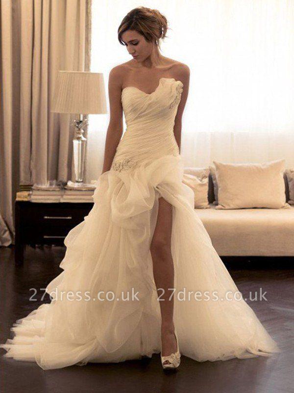 Beads Organza Sweep Train Sweetheart Sleeveless Ball Gown Wedding Dresses UK