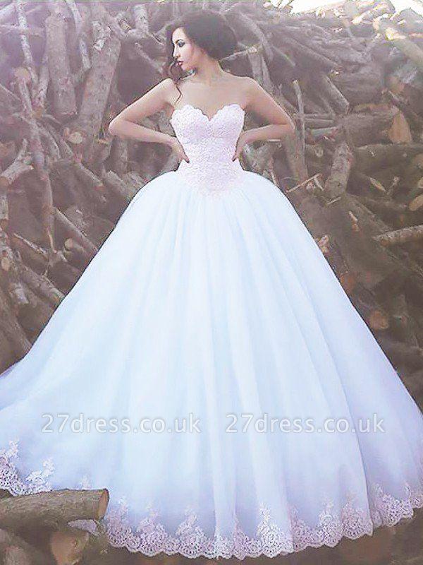 Sweetheart Organza Ball Gown Sweep Train Sleeveless Wedding Dresses UK