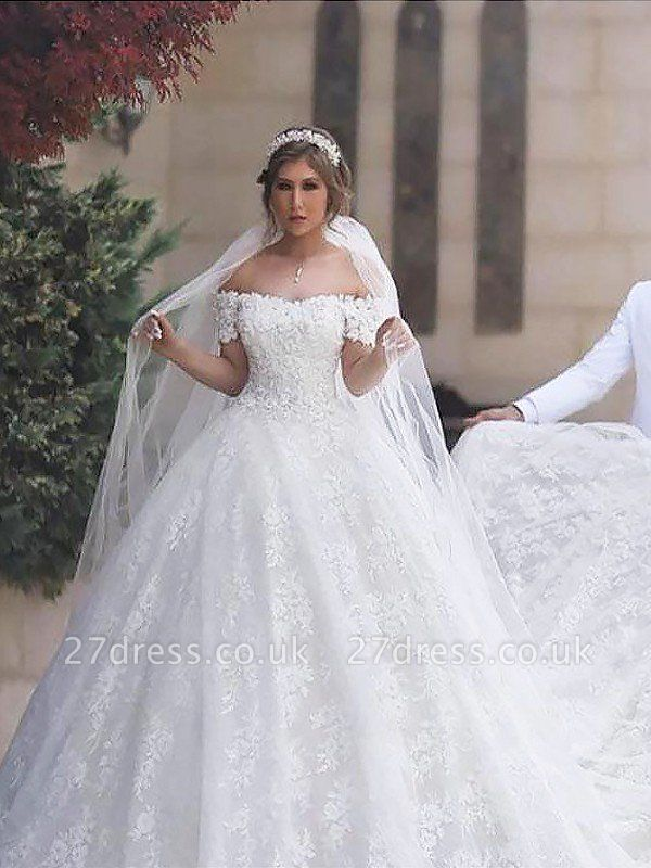 Lace Court Train Ball Gown Short Sleeves Tulle Off-the-Shoulder Wedding Dresses UK