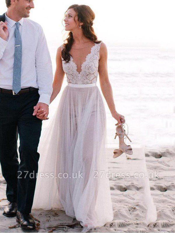 Sleeveless Floor-Length Scoop Neckline Lace Tulle Cheap A-Line Wedding Dresses UK