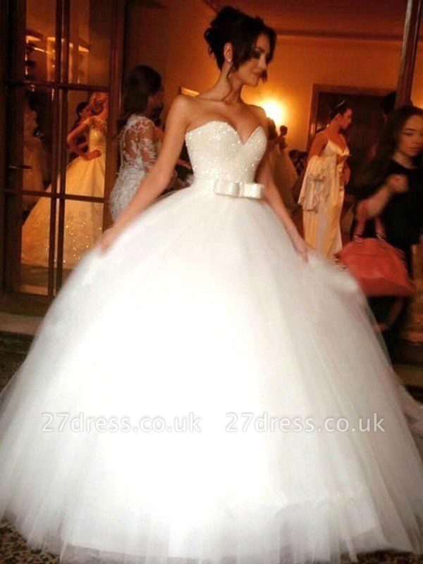 Bowknot Tulle Cheap Sleeveless Floor-Length Ball Gown Sweetheart Wedding Dresses UK