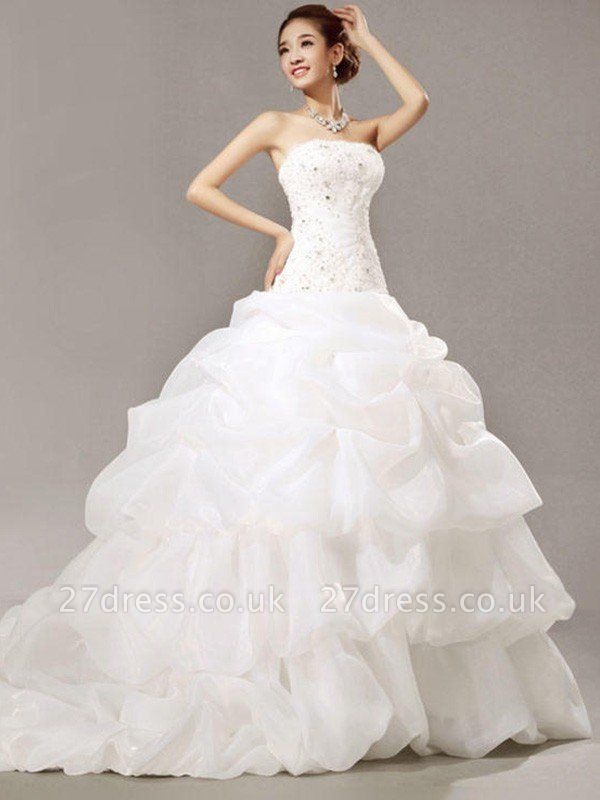 Cathedral Train Beads Ball Gown Strapless Organza Lace Pleats Sleeveless Wedding Dresses UK