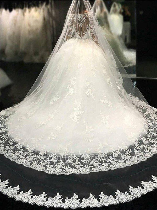 Lace Tulle Cheap Cathedral Train Applique Scoop Neckline Long Sleeves Ball Gown Wedding Dresses UK