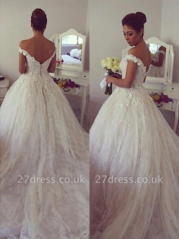 Off-the-Shoulder Court Train Ball Gown Lace Sleeveless Wedding Dresses UK