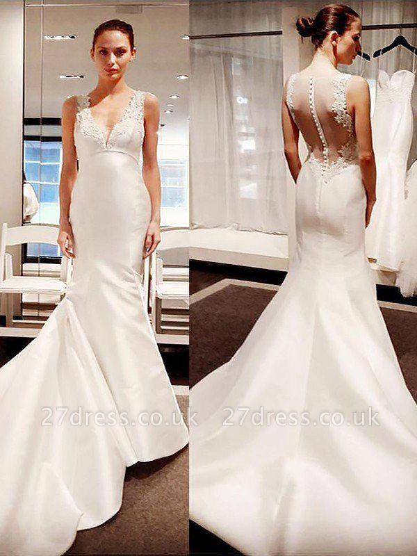 Court Train Sleeveless  Sexy Mermaid Satin V-neck Wedding Dresses UK