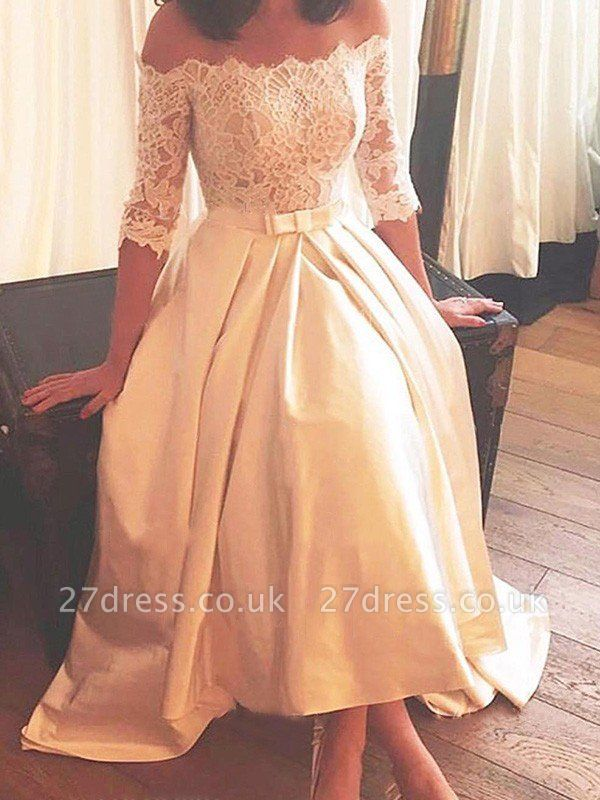 1/2 Sleeves Lace A-Line Asymmetrical Sweep Train Satin Off-the-Shoulder Wedding Dresses UK