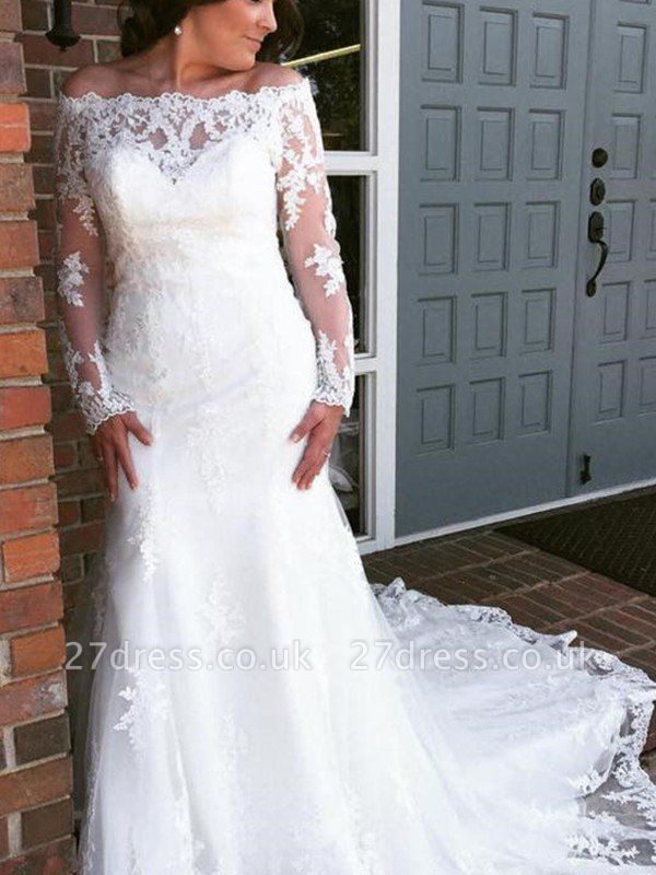 Applique Cathedral Train  Sexy Mermaid Tulle Cheap Long Sleeves Off-the-Shoulder Wedding Dresses UK