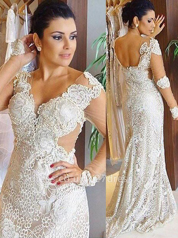 Lace Sweep Train Sheath Long Sleeves  V-Neck Wedding Dresses UK