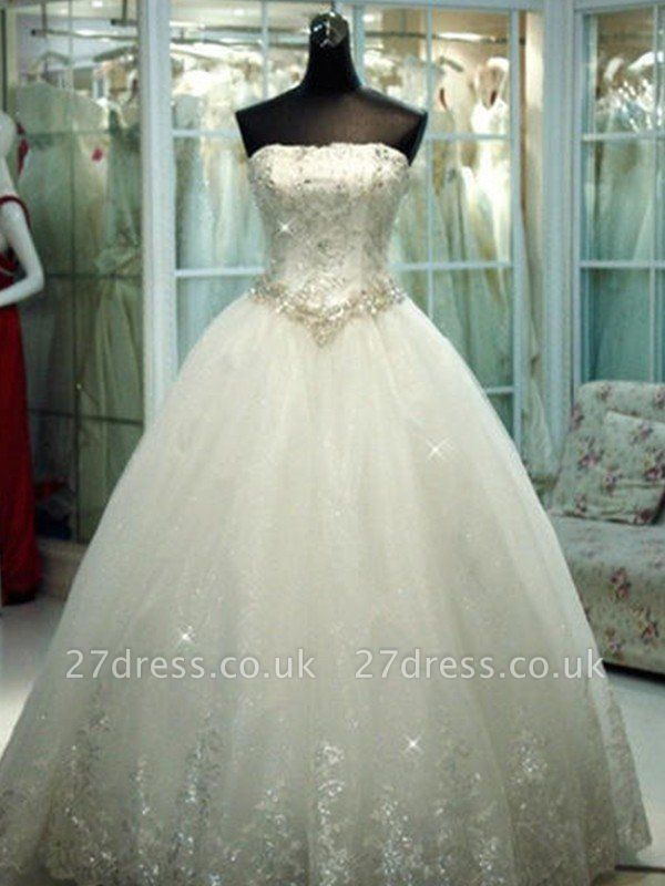 Floor-Length Tulle Cheap Ball Gown Beads Strapless Sleeveless Wedding Dresses UK