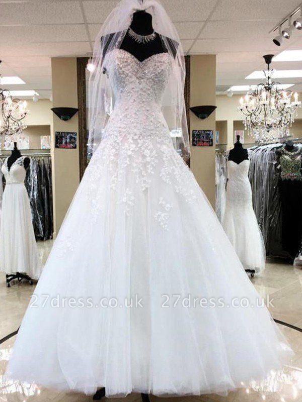 Floor-Length Applique Ball Gown Sweetheart Sleeveless Tulle Cheap Wedding Dresses UK