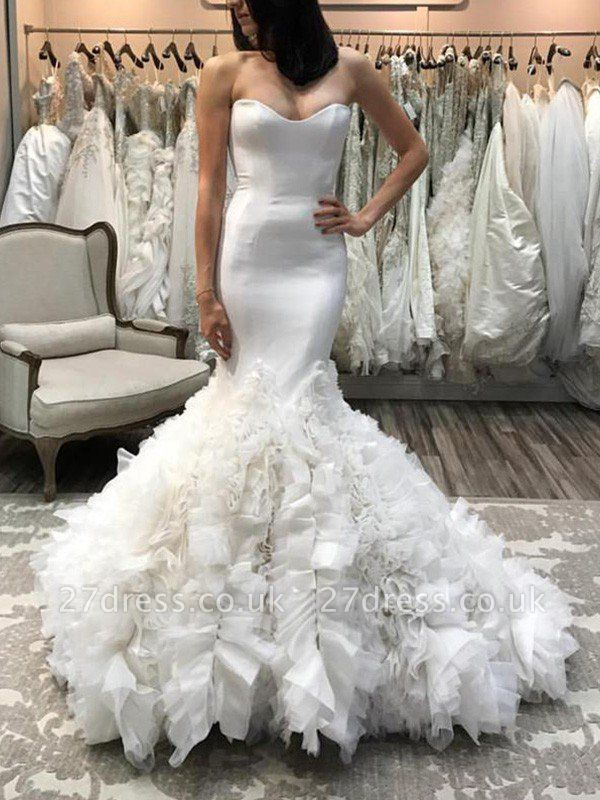Organza Sexy Mermaid Sleeveless Court Train Sweetheart Wedding Dresses UK