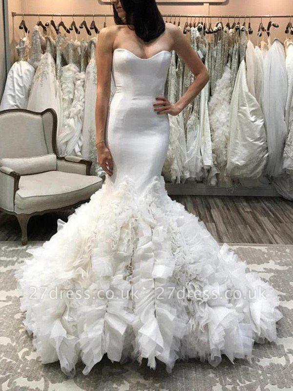 Organza Sexy Mermaid Sleeveless Court Train Sweetheart Wedding Dresses UK