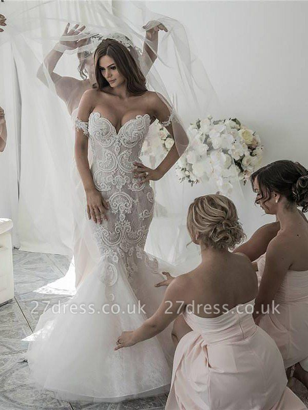 Off-the-Shoulder Sleeveless  Sexy Mermaid Tulle Cheap  Wedding Dresses UK