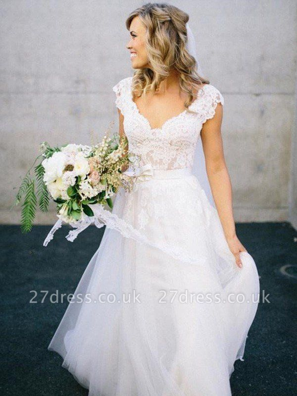 Lace Tulle Cheap A-Line V-neck Sleeveless Floor-Length Wedding Dresses UK