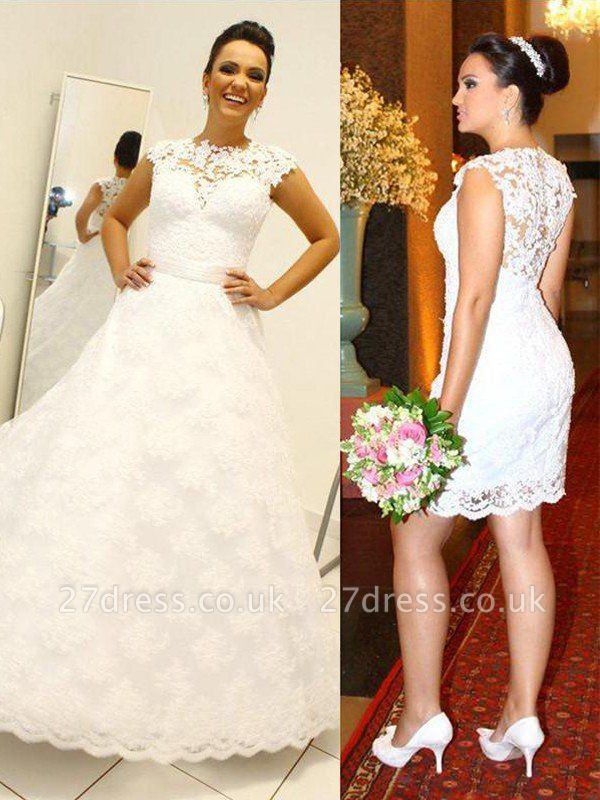 Lace Ball Gown Floor-Length Scoop Neckline Sleeveless Wedding Dresses UK
