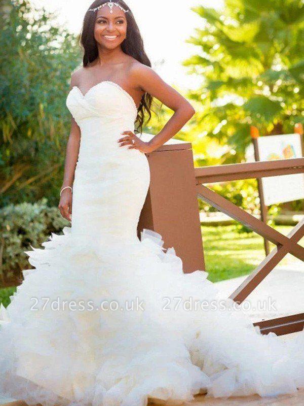 Court Train Sexy Mermaid Sweetheart Organza Sleeveless Wedding Dresses UK
