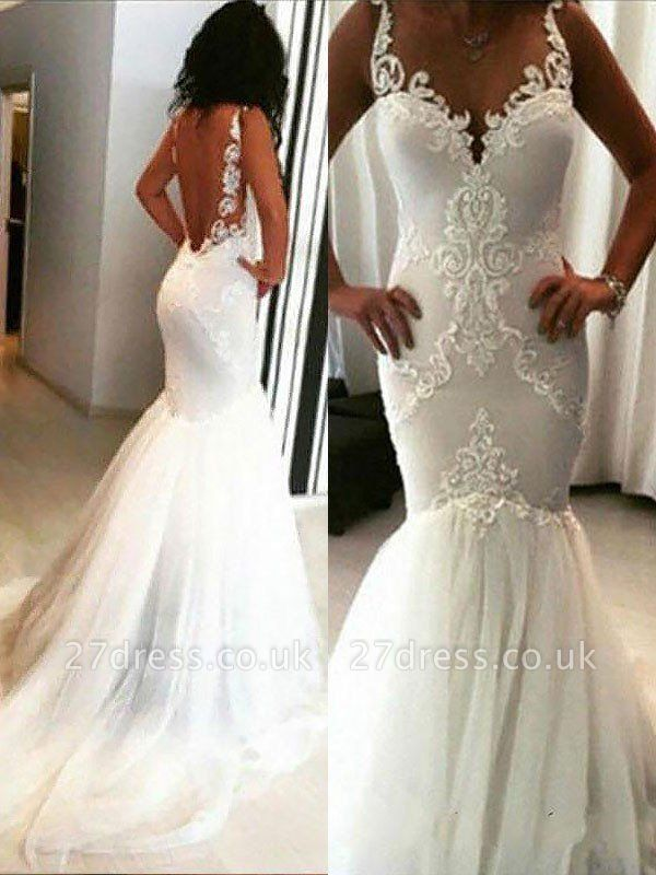 Applique  Sexy Mermaid Sleeveless  Tulle Cheap Spaghetti Straps Wedding Dresses UK