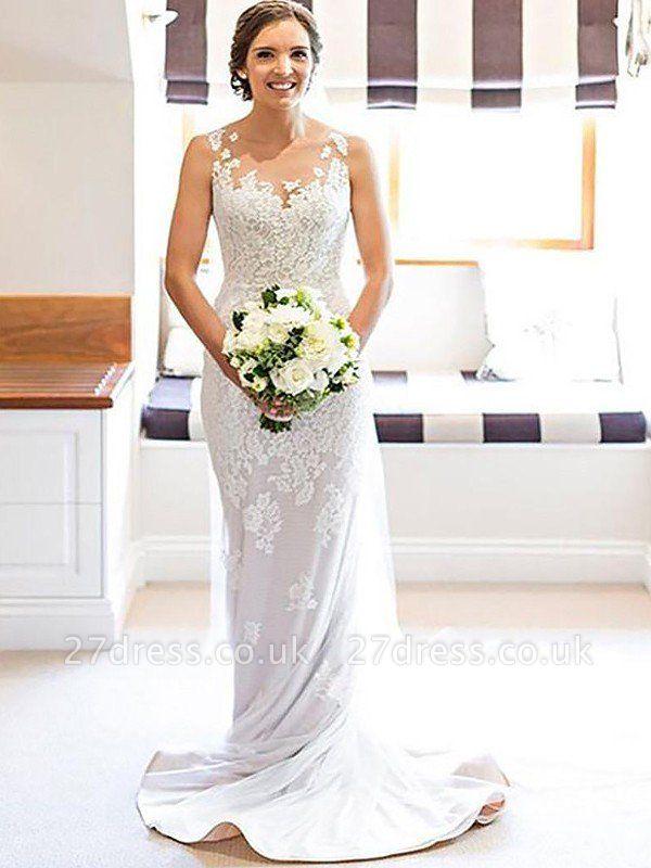 Sleeveless Sheath Scoop Neckline Lace Court Train Applique Wedding Dresses UK