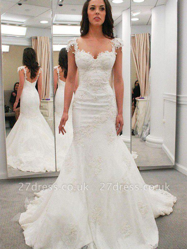 Sexy Mermaid Short Sleeves Applique Lace Sweetheart Wedding Dresses UK