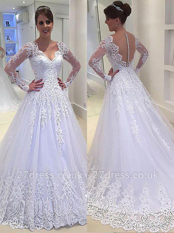 Court Train Long Sleeves A-Line Applique Tulle  V-Neck Wedding Dresses UK