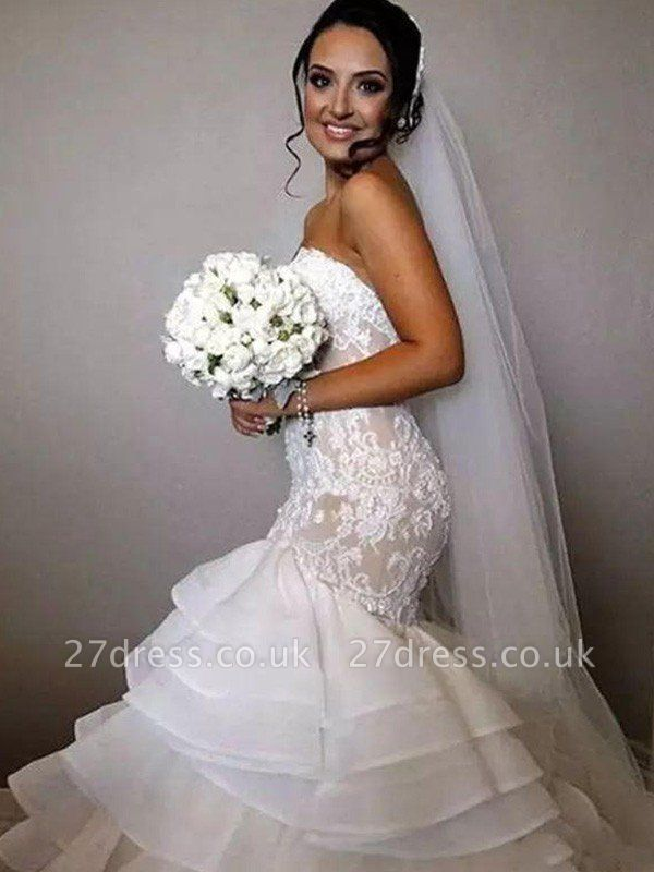 Organza Sleeveless Ruffles Sweetheart Applique Lace Sexy Mermaid Wedding Dresses UK