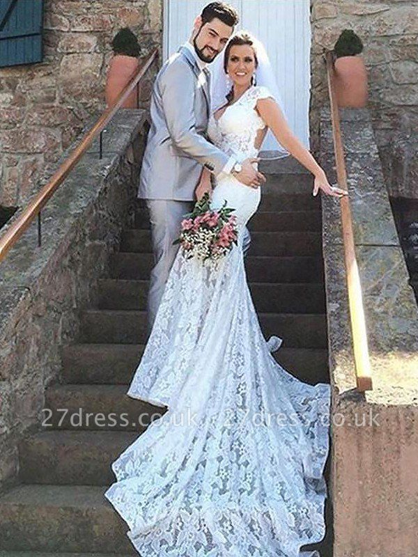 Lace Court Train  Sexy Mermaid Sleeveless Sweetheart Wedding Dresses UK
