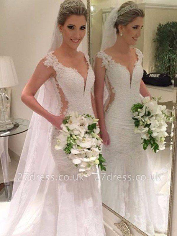 Sleeveless  Sexy Mermaid V-neck Lace Sweep Train Wedding Dresses UK