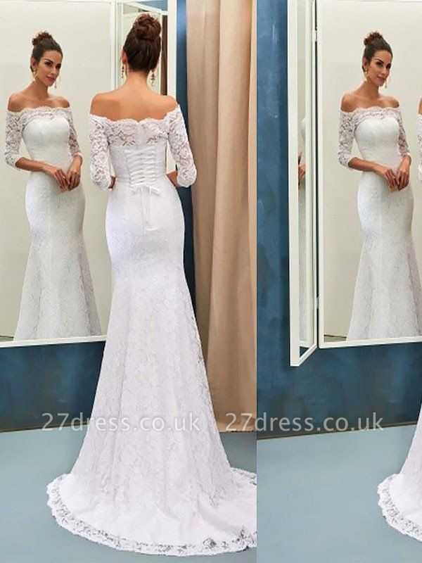 Off-the-Shoulder Lace  Sexy Mermaid Long Sleeves Sweep Train Wedding Dresses UK
