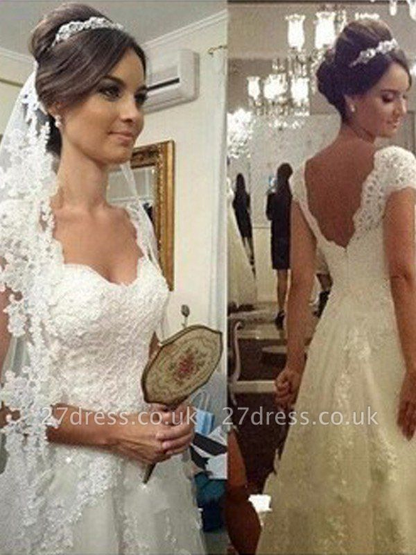 Floor-Length A-Line Sweetheart Sleeveless Lace Tulle Cheap Wedding Dresses UK
