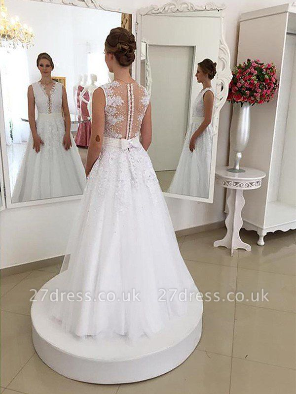 Lace Sweep Train Sexy Mermaid Scoop Neckline Sleeveless Wedding Dresses UK