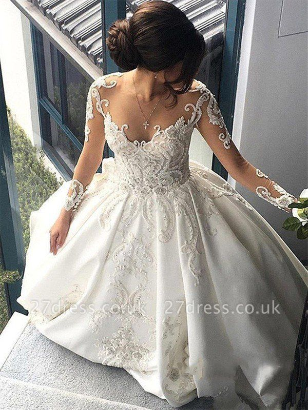 Satin Ball Gown Scoop Neckline Cathedral Train Applique Long Sleeves Wedding Dresses UK