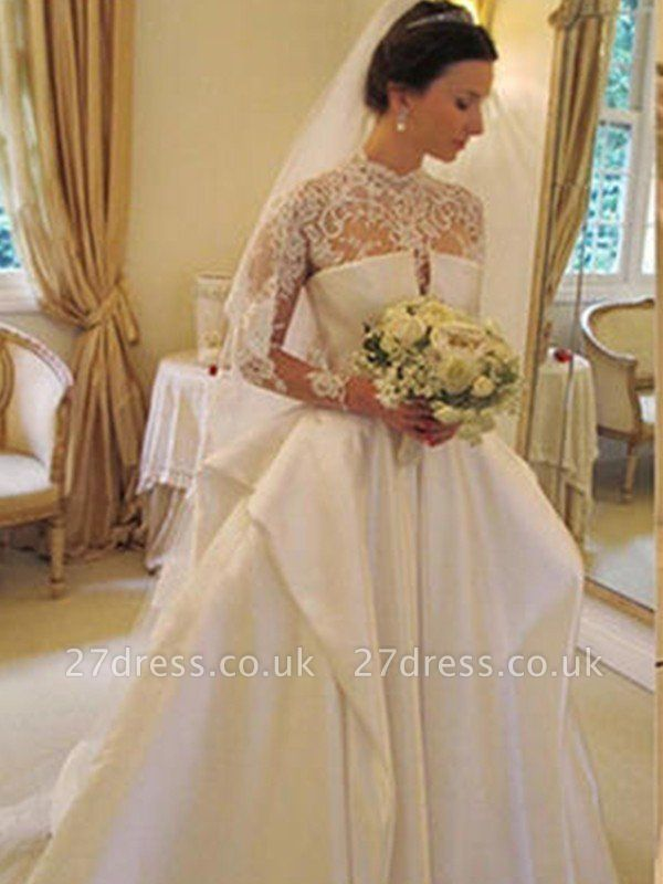 Satin Lace Ball Gown Long Sleeves High Neck Wedding Dresses UK