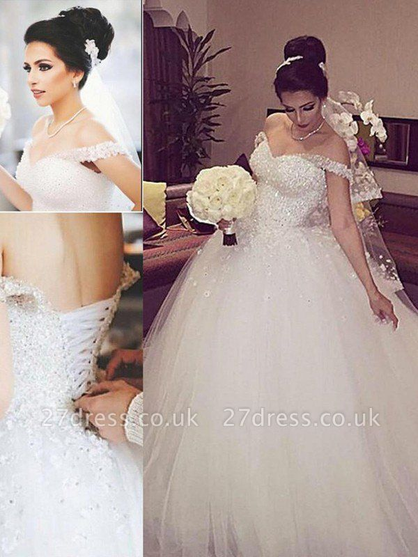 Sleeveless Ball Gown Lace Court Train Tulle Cheap Off-the-Shoulder Wedding Dresses UK