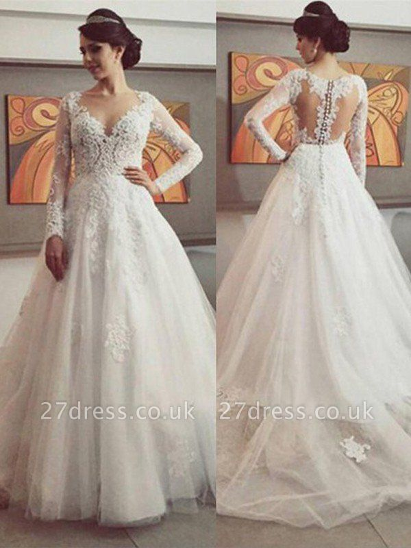 Court Train Tulle Cheap Ball Gown V-neck Long Sleeves Lace Wedding Dresses UK
