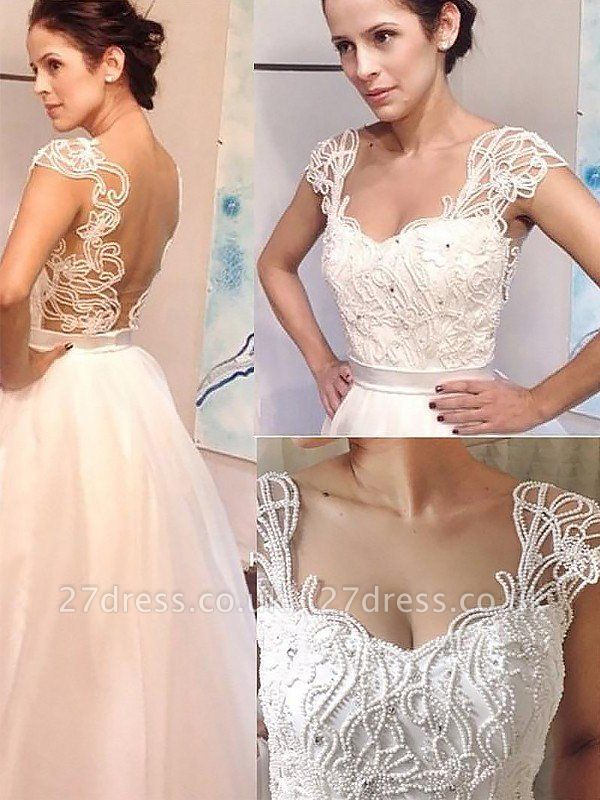 Sweep Train Sleeveless A-Line Tulle Sweetheart Wedding Dresses UK