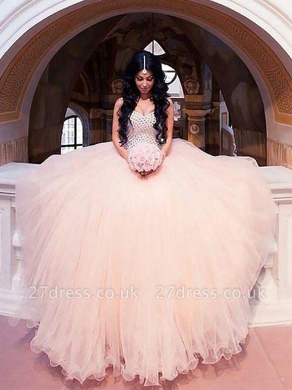 Tulle Sweep Train Ball Gown Sweetheart Sleeveless Beads Wedding Dresses UK